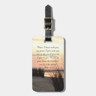 Peace I leave with you, Bible Verse Ocean Sunset Bag Tag