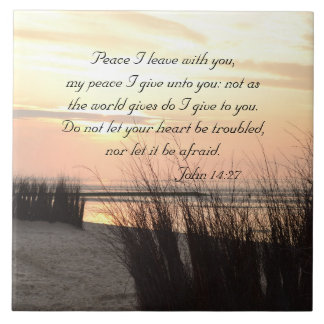 Peace I leave with you, Bible Verse Ocean Sunset Ceramic Tile
