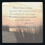 "Peace I leave with you, Bible Verse Ocean Sunset Stone Coaster<br><div class=""desc"">Scripture stone coaster depicts a beautiful ocean view sunset and features Bible Verse John 14:27.</div>"