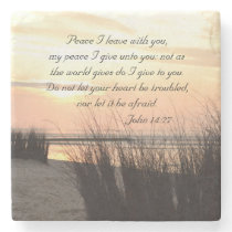 Peace I leave with you, Bible Verse Ocean Sunset Stone Coaster