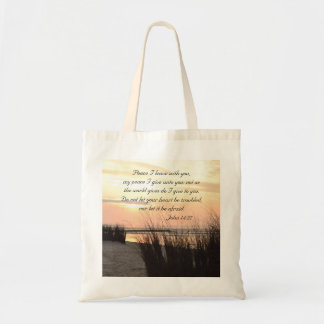 Peace I leave with you, Bible Verse Ocean Sunset Tote Bag