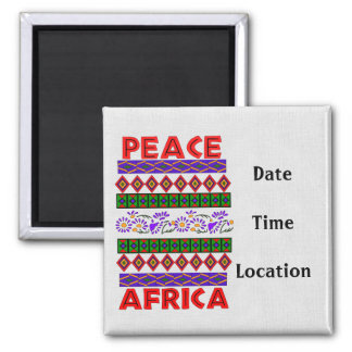 Peace In Africa 2 Inch Square Magnet