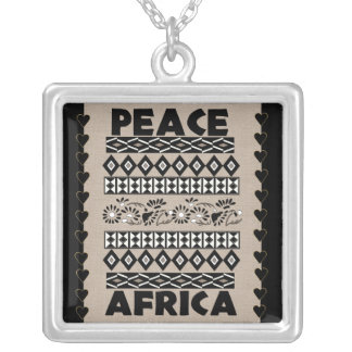Peace In Africa Square Pendant Necklace