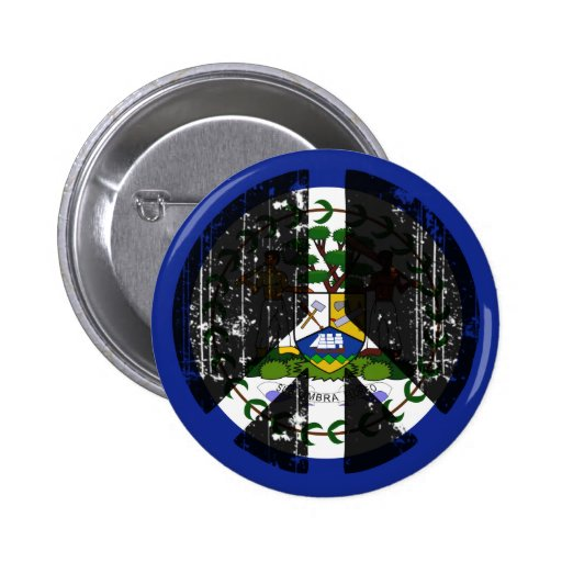 Peace In Belize Pinback Buttons