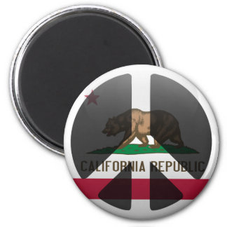 Peace in California 2 Inch Round Magnet