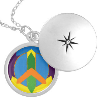 Peace in Color Round Locket Necklace