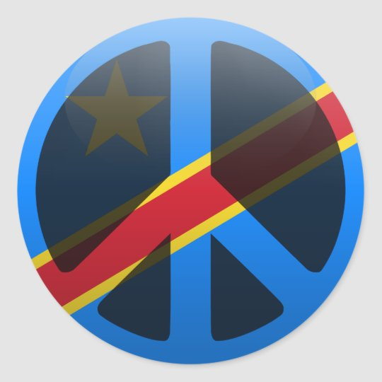 Peace in democratic republic of congo classic round sticker