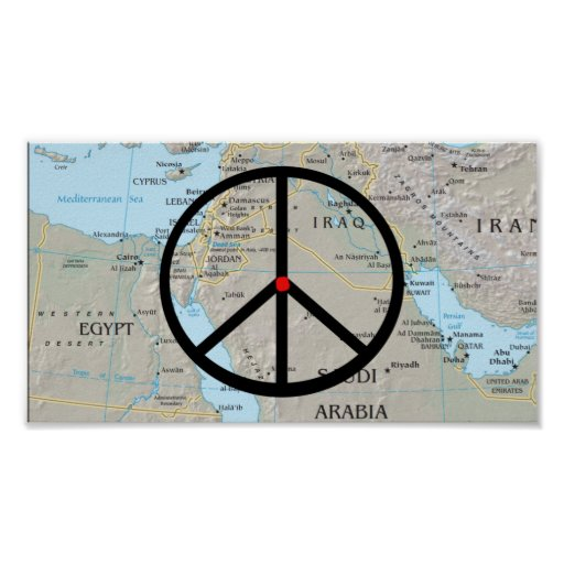 PEACE IN EGYPT AND THE MIDDLE EAST NOW MAP AND PEA PRINT