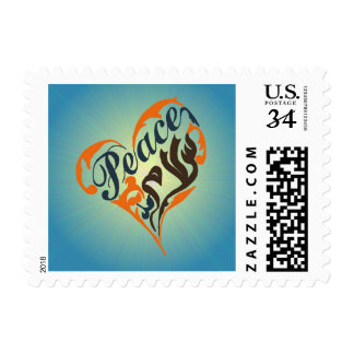"""""""Peace"""" in english & Arabic calligraphy in a heart Postage"""