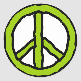 Peace in Green Classic Round Sticker