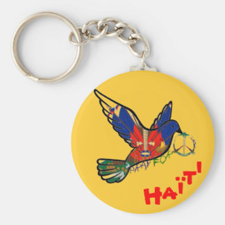 PEACE IN HAITI dove Keychain