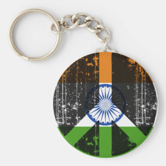 Peace In India Basic Round Button Keychain