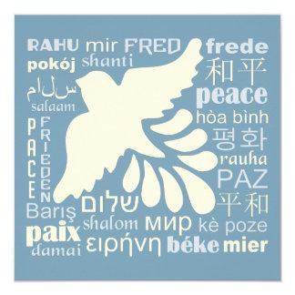PEACE in languages custom card / invitation
