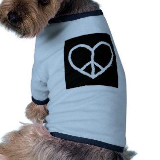 Peace-in-Love heart Dog T Shirt