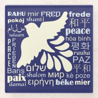 PEACE in many languages glass coaster