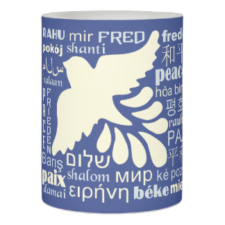 PEACE in many languages LED candle