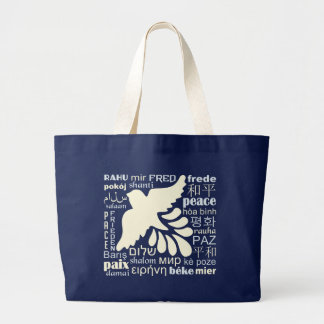 PEACE in many languages tote bags