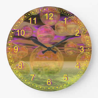Peace in the Storm – Abstract Violet & Amber Calm Clocks