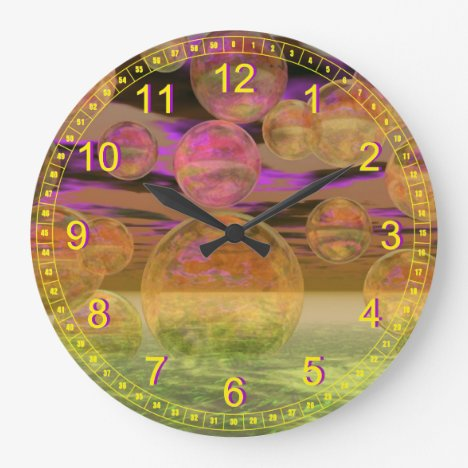 Peace in the Storm – Abstract Violet & Amber Calm Large Clock