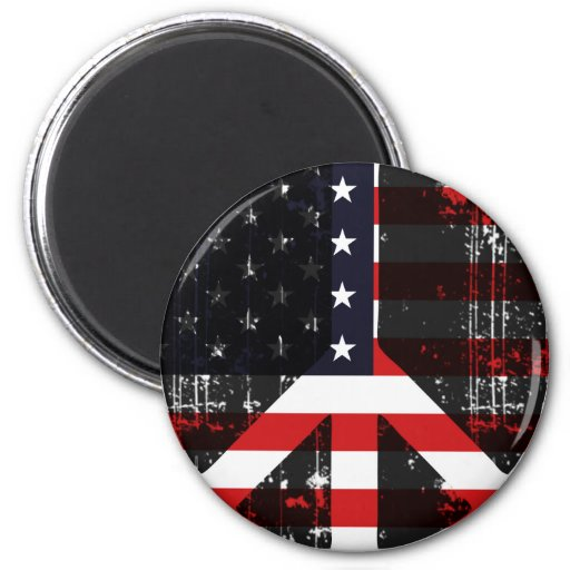 Peace In Usa 2 Inch Round Magnet