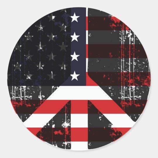 Peace In Usa Classic Round Sticker