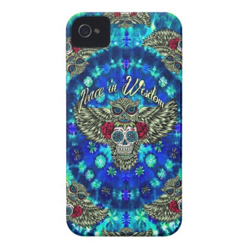 Peace in wisdom tie dye with sugar skull owl art. iPhone 4 Case-Mate case
