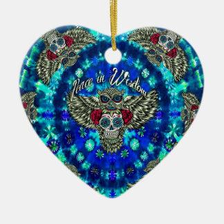 Peace in wisdom tie dye with sugar skull owl art. ceramic ornament