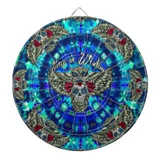 Peace in wisdom tie dye with sugar skull owl art. dartboard with darts