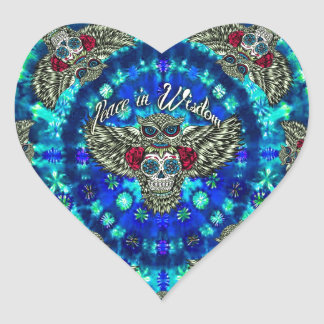 Peace in wisdom tie dye with sugar skull owl art. heart sticker
