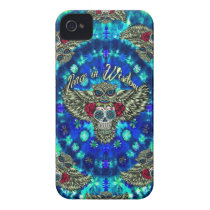 Peace in wisdom tie dye with sugar skull owl art. iPhone 4 case