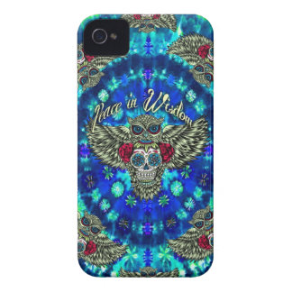 Peace in wisdom tie dye with sugar skull owl art. iPhone 4 case
