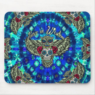 Peace in wisdom tie dye with sugar skull owl art. mouse pad