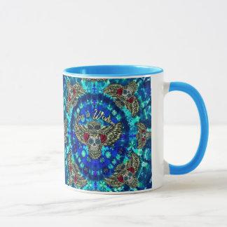 Peace in wisdom tie dye with sugar skull owl art. mug