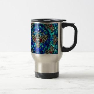 Peace in wisdom tie dye with sugar skull owl art. coffee mug