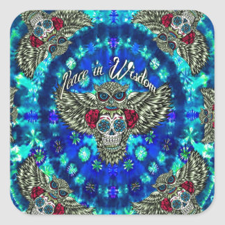 Peace in wisdom tie dye with sugar skull owl art. square sticker