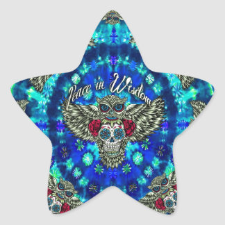 Peace in wisdom tie dye with sugar skull owl art. star sticker
