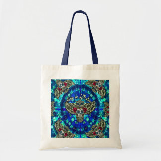 Peace in wisdom tie dye with sugar skull owl art. tote bag