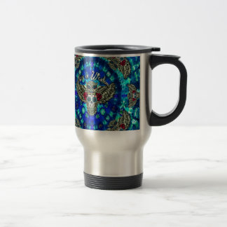 Peace in wisdom tie dye with sugar skull owl art. travel mug