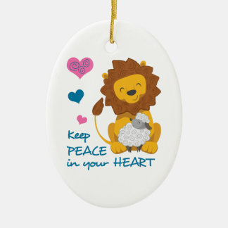 PEACE IN YOUR HEART Double-Sided OVAL CERAMIC CHRISTMAS ORNAMENT