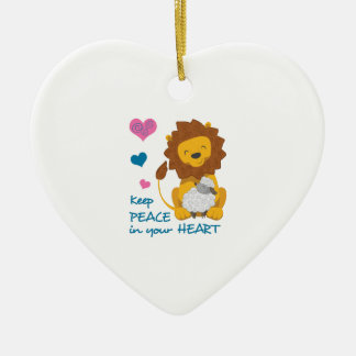 PEACE IN YOUR HEART Double-Sided HEART CERAMIC CHRISTMAS ORNAMENT