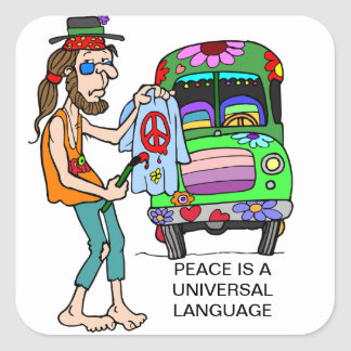 PEACE IS A UNIVERSAL LANGUAGE SQUARE STICKER