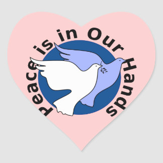 Peace is in Our Hands Heart Sticker