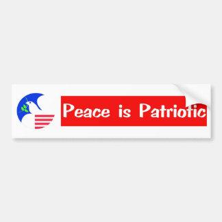 PEACE IS PATRIOTIC BUMPER STICKER