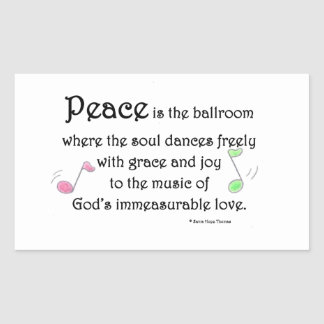 peace is the ballroom rectangular sticker