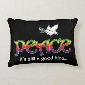 Peace: It's Still A Good Idea - Dove and Rainbow Accent Pillow