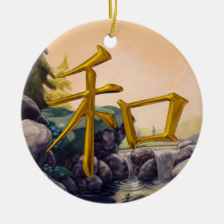 Peace - Japanese Symbol -  SRF Double-Sided Ceramic Round Christmas Ornament