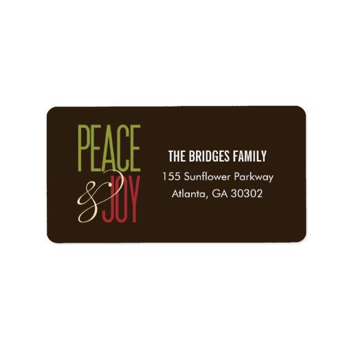 Peace & Joy Address Labels Personalized Address Label