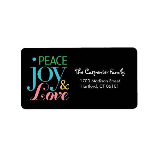 Peace Joy, and Love Holiday Address Labels Address Label