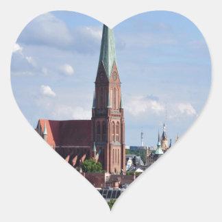Peace joy and love schwerin heart sticker