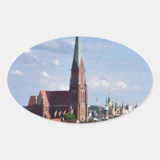 Peace joy and love schwerin oval sticker